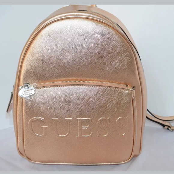 Guess Bags   Rose Gold Backpack Faux Leather   Poshmark c1236ad246